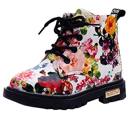 DADAWEN Boy's Girl's Waterproof Side Zipper Lace-Up Ankle Boots (Toddler/Little Kid/Big Kid) White(Flowers) US Size 8.5 M Toddler