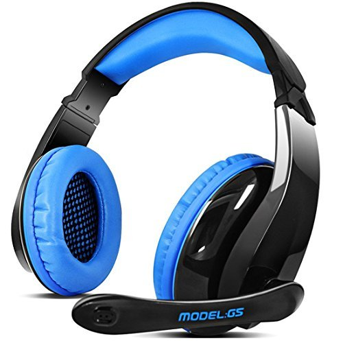 PS4 Gaming Headset,Letton G5 Stereo PC Computer Headphones with Microphone,Over Ear Noise Canceling 3.5mm Jack for New Xbox One Mac Gamer,Black/Blue