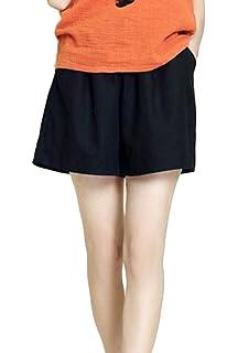 5e71335b71 Pandapang Women's Summer Casual Elastic Waist Beach Solid Plus Size Wide  Leg Short