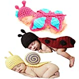 Babyhaven Newborn Baby Crochet Photography Prop Costume, 3 Pack, Snail/Ladybug/Butterfly
