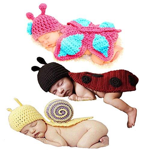 Babyhaven Newborn Baby Crochet Photography Prop Costume, 3 Pack, Snail/Ladybug/Butterfly -