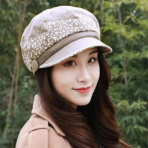 RangYR Women's Hat Ms Cap Autumn Beret Cap Colorblock Octagon Hat Painter Cap Breathable Cap White