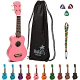 Hola! Music HM-21PK Soprano Ukulele Bundle with Canvas Tote Bag, Strap and Picks, Color Series - Pink