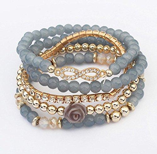 Creazy Women Multilayer Beads Bangle Bracelets (Grey)