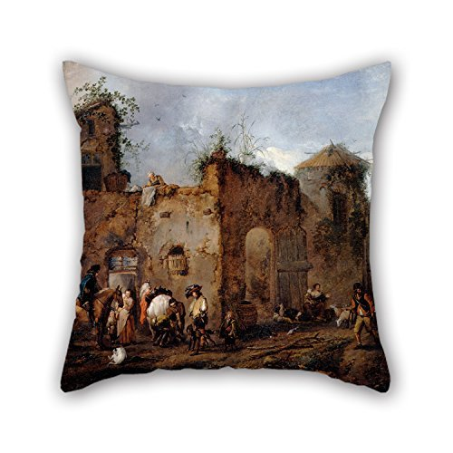 Asefcnxkjii 18 X 18 Inches/Oil Painting Wouwerman, Philips - Courtyard with A Farrier Shoeing A Horse Pillow Shams,Ornament and Gift to Outdoor,Relatives,Indoor,Father,Relatives