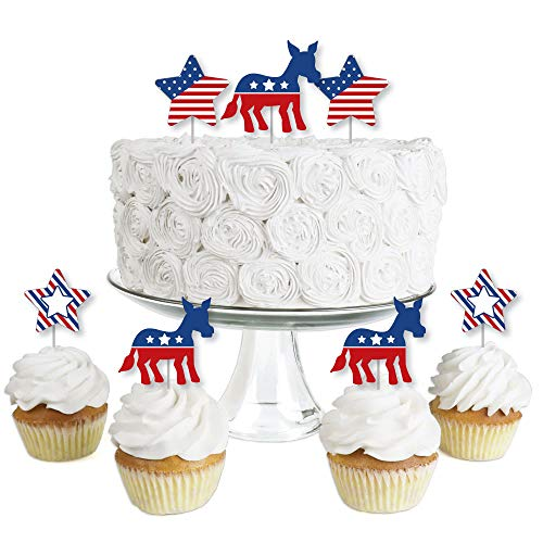 Election (D) - Dessert Cupcake Toppers - Political Party Clear Treat Picks - Set of -