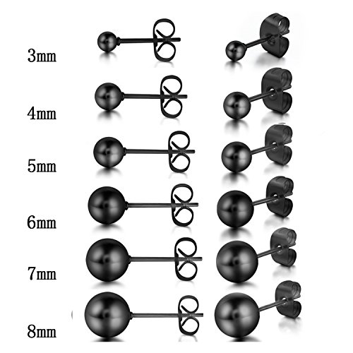 12pcs Stainless Steel Mens Black Round Ball Stud Earrings,3-8MM Assorted Size,Hypoallergenic