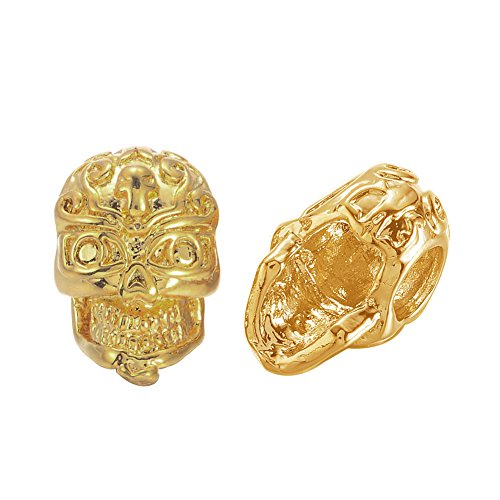 Pandahall 2pcs Golden Plated Brass Skull BeadsHalloween Gothic Large 3-Hole 3D Side-Drilled Skull Bead Big Hole Shamballa Men's Bracelet Loose Spacers Charms 12x8x8mm DIY Jewelry ()
