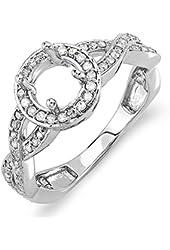 0.50 Carat (Ctw) 14k White Gold Round Diamond Semi Mount Halo Style Bridal Ring 1/2 Ct (No Center Stone)