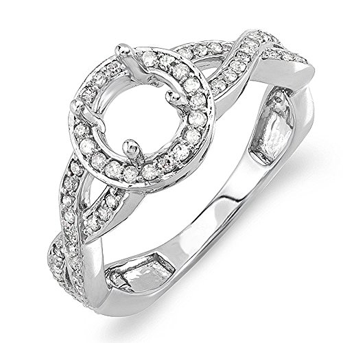Dazzlingrock Collection 0.50 Carat (Ctw) 14k Round Diamond Semi Mount Halo Style Bridal Engagement Ring 1/2 Ct (No Center Stone), White Gold, Size 7