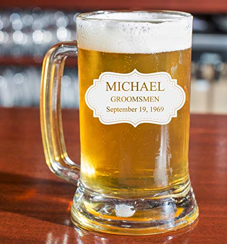 Personalized Beer Glass - Custom Engraved Beer Mug | Add your own Engraved Text - Board Design (Beer Mug 16oz)