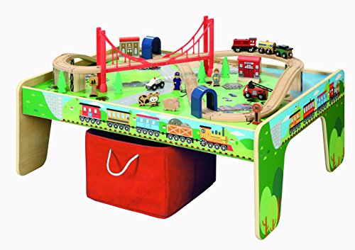 - maxim enterprise, inc. 50 Piece Wooden Train Set with Train / Activity Table - BRIO and Thomas & Friends Compatible, Multi Color
