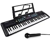 ZJTL 61-Key Digital Electric Piano Keyboard & Music Stand & microphone- Portable Electronic Keyboard (Kids & Adults) MQ-6112