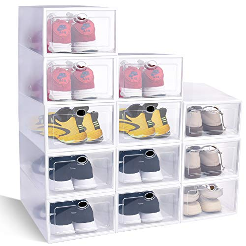 HAYOSNFO Shoe Storage Boxes, Clear Plastic Stackable Storage Bins, Shoe Container Organizer (Clear, 12)
