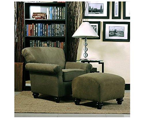 (Portfolio Capri Moss Green Microfiber Accent Arm Chair and Ottoman)