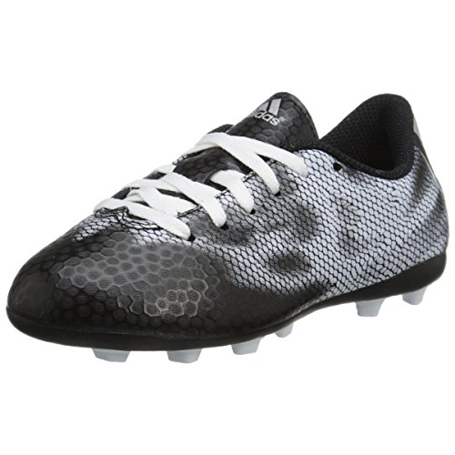 adidas Performance F5 FXG J Firm-Ground Soccer Cleat (Little Kid/Big Kid), Core Black/Metallic/Silver/Metallic/Silver, 4.5 M US Big Kid
