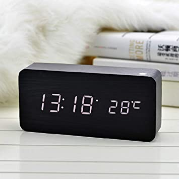 Sunjing Led Reloj De Madera, Despertador De Madera Digital, Alarma De Música Despertador Inteligente