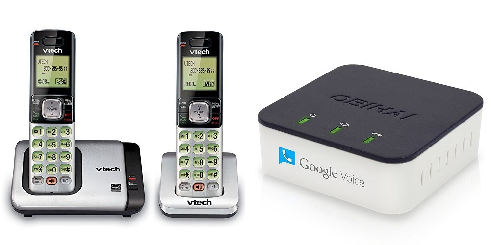 OBi200 VoIP Phone Adapter with VTech CS6719-2 Phone with 2 Cordless Handsets