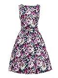 ILover Women's 1950s Printing Floral Rockabilly Swing Vintage Dresses Party Dress (Bluefloral, Medium)