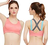 Women's Girls Freedom Seamless Wireless Sports Bras Fitness Stretch Workout Tank Bra Push-Up Padded Strappy Sports Bra Cross Back Wirefree Fitness Yoga Top 2 Pack (Small)
