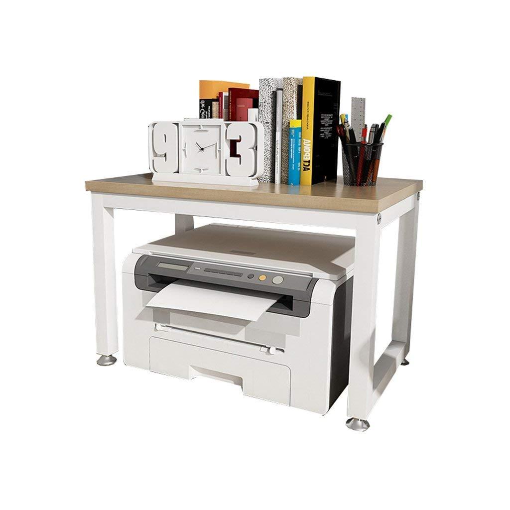 Office Printer Stand 2-Tier Kitchen Seasoning Shelf Microwave Oven Rack Debris Rack (White and Light Walnut Color) (Size : 45CM)