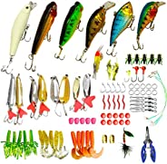 WDG 85Pcs Fishing Lures Kit,5Pcs Bass Fishing Lures Trout Bass Fishing Baits Accessories Including Lures Hook,