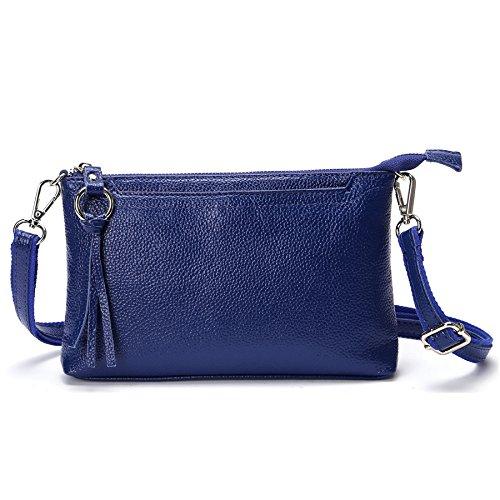 SCIEN Women Small Leather Crossbody Purse Zipper Clutch Wallet Cell Phone Bgas,Dark Blue by SCIEN