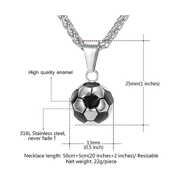 U7 Men Women Soccer/Basketball/Rugby/Tennis Racket Necklace Stainless Steel/18K Gold Plated Spiga Chain & Pendant,Athlete Sport Fan Gift Jewelry