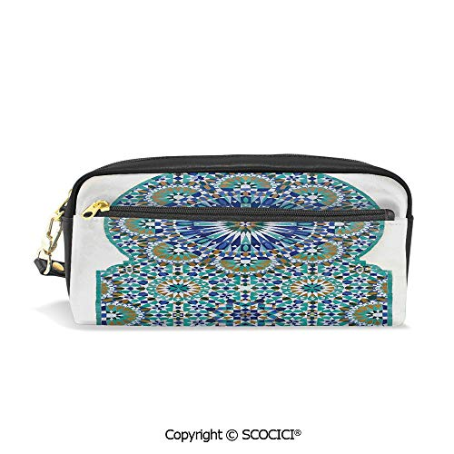 Students PU Pencil Case Pouch Women Purse Wallet Bag Ceramic Tile with Ancient East Pattern Decorative Tracery Heritage Architecture Waterproof Large Capacity Hand Mini Cosmetic Makeup Bag