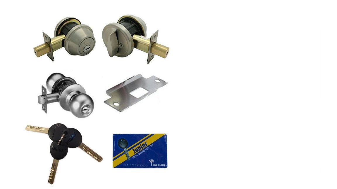Mul-T-Lock Single Cylinder Deadbolt With S. Parker Knob Front Door Entry Lockset Combination Set Keyed Alike, Adjustable Backset,3 Keys With Card (Stainless Steel)