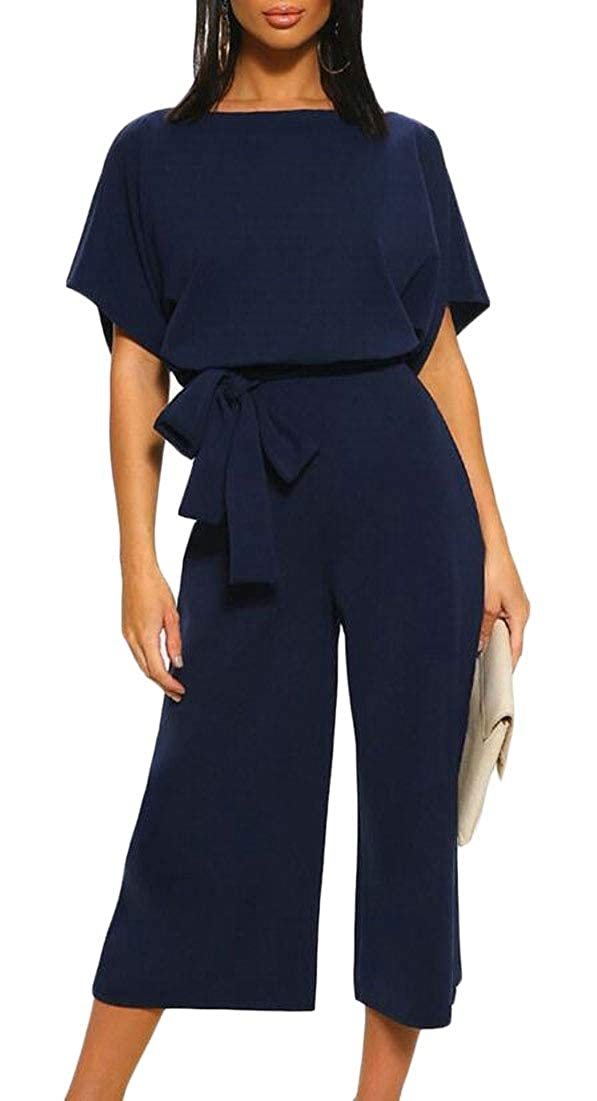 WSPLYSPJY Womens Summer Short Sleeve Loose Wide Legs Casual Jumpsuits with Belt