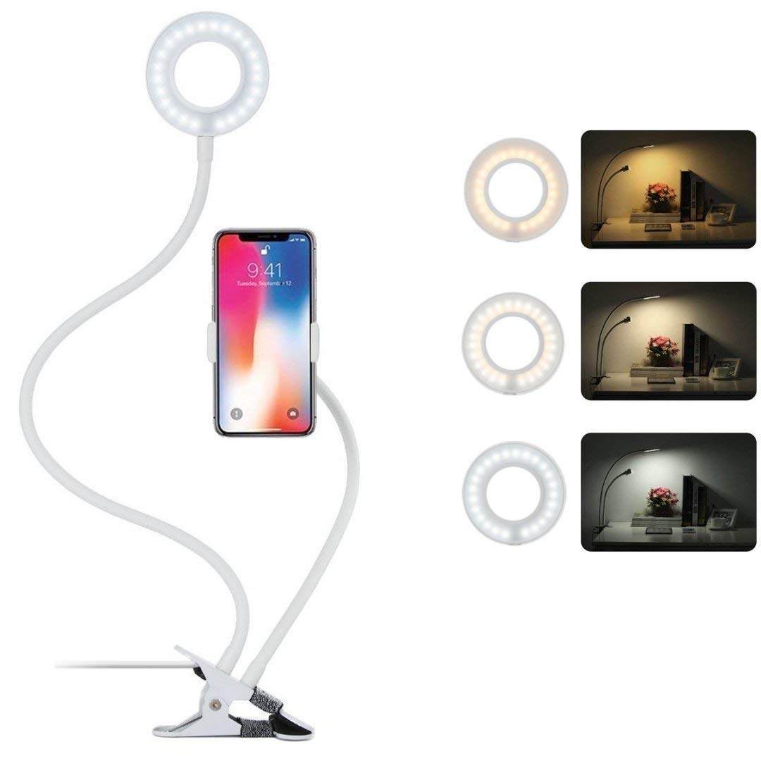 Bonlux LED Selfie Ring Light with Gooseneck Cell Phone Holder Stand for Live Stream and Makeup, LED Desk Lamp with Clip-on Lazy Bracket and Flexible Long Arms for Bedroom, Bathroom, Office - White by Bonlux (Image #9)