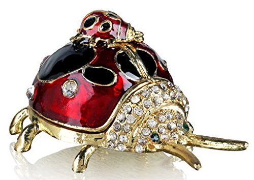 Ladybug Crystal - Welforth Jeweled Red Ladybug & Baby Enamel Pewter Trinket Box