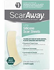 ScarAway Long Silicone Scar Sheets, 6 Count
