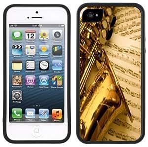 Saxophone Music Handmade iPhone 5 5S Black Bumper Plastic Case