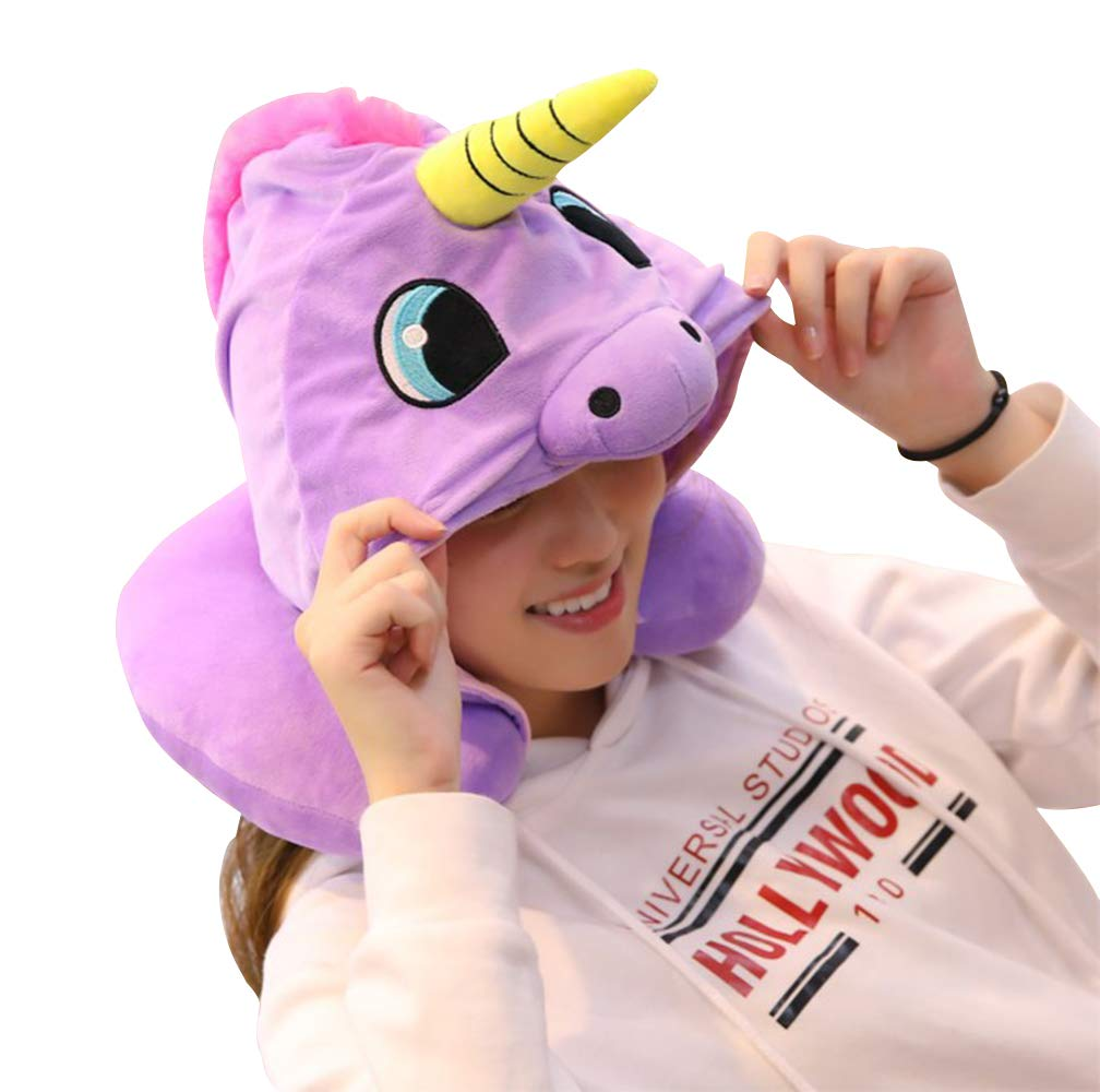 KIKIGOAL Unicorn Hooded Animal Travel Neck Pillow Polyester Neck Pillow Support Cushion Unicorn Hoodie Funny Gifts for Children and Women (Purple)