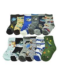 Angelina Boys Kids 12-Pack Assorted Designs Crew Socks