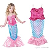 M6 Little Mermaid Costume Disney Princess Ariel Inspired Halloween Dress for Girls 4-10
