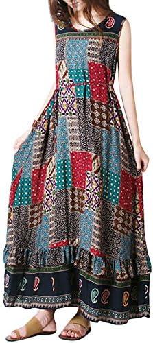 ラウンドネックドレス 長袖 女性 夏 パーティードレスノースリーブビーチドレス