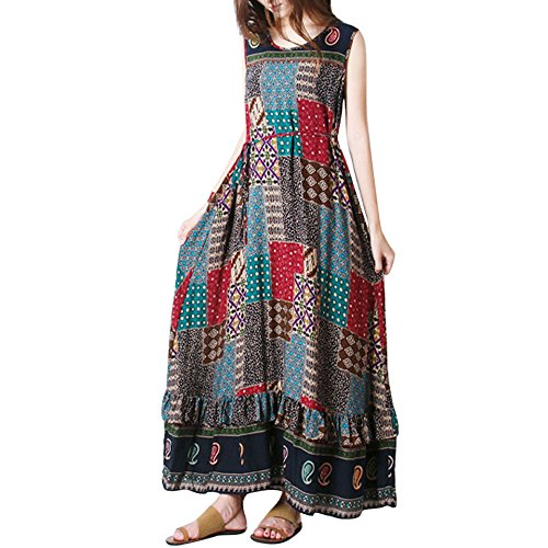 Women Summer Ruffle Dress Party Long Loose Maxi Dress O-Neck Tank Sleeveless Sundress (M, Khaki)