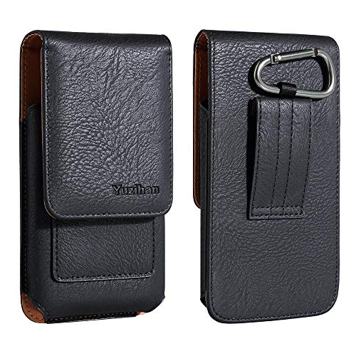 Yuzihan Samsung Galaxy Note 9 8 4 S9 Plus S8 Plus S7 Edge Plus Belt Pouch Holster with Card Holder Belt Clip Belt Loop Leather Belt Holster Pouch Fit Phone with Slim Case On