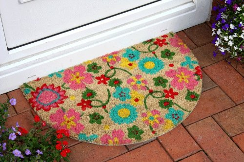 New Colourful Semi Circle Flowery Stylish Doormat 40x60cm