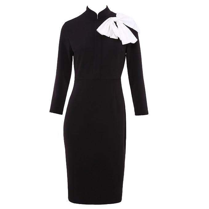 Qicool Womens Vintage Negro vestido formal con arco de color Bloque en el hombro: Amazon.es: Ropa y accesorios