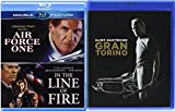 Clint Eastwood In the Line of Fire + Harrison Ford Air Force One & Gran Torino Blu Ray Bundle Triple Pack 3 Movie Set Feature Films