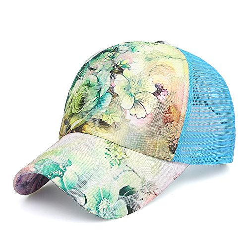 Women Lace Flowers Baseball Cap Sporting Hat Adjustable Top Quality Summer Sun Hats Sports Caps Mesh Hat for Golf Cycling Running Fishing Outdoor Hats (Blue) by CaoYu