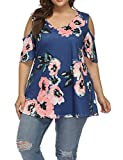 Allegrace Women's Plus Size Floral Printing Cold Shoulder Tunic Top Short Sleeve V Neck T Shirts Blue 3X