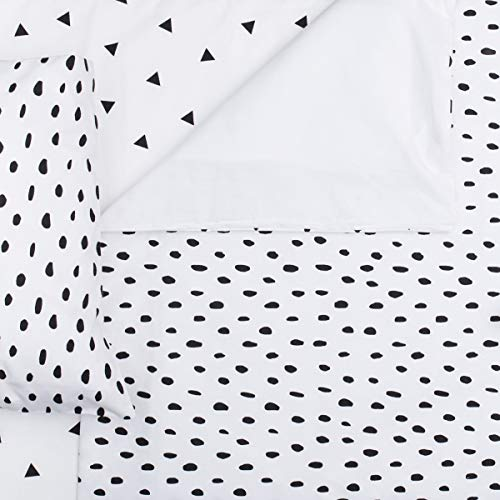 Little Love 100% Cotton Crib/Cot Bed Duvet Cover and Pillowcase Set for Boys and Girls (Black Polka Dot)
