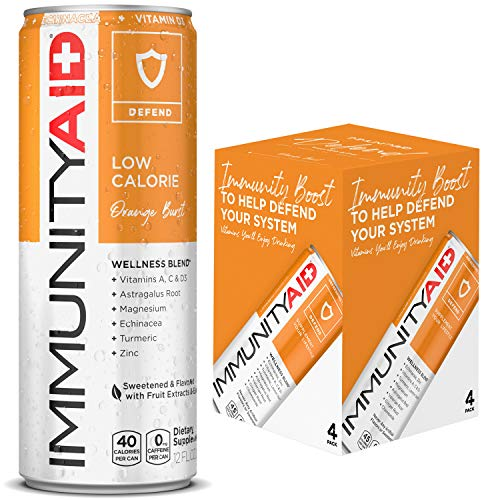IMMUNITYAID Wellness Blend, With Echinacea, Zinc, Astragalus & Vitamin C, Only 45 Calories, 100% Clean, Vegan & Gluten-Free, No Artificial Flavors, Sodium or Caffeine, 12-oz. cans (Pack of 4)
