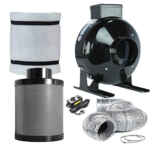 Funlife 4 inch Carbon Filter For Grow Tent/Grow Tent Air Filters with Activated Virgin Coconut Charcoal Air Scrubber For Inline Fan Combo (4 Inch Filter+Grow Tent Fan Combo)