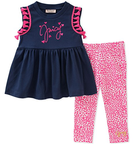 Juicy Couture Baby Girls 2 Pieces Tunic Set, Navy/Pink, 6-9 Months